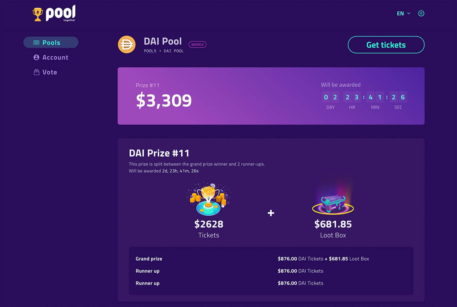 PoolTogether is a protocol for no-loss money games powered by Ethereum.